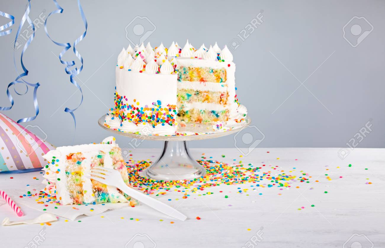 Excellent White Buttercream Confetti Birthday Cake With Colorful Sprinkles Funny Birthday Cards Online Aeocydamsfinfo
