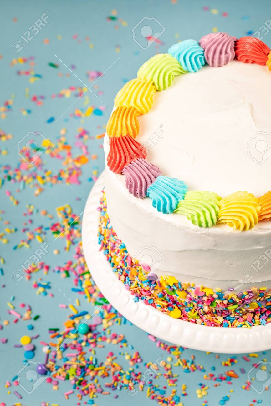 Swell Overhead View Of A Birthday Cake With Rainbow Icing And Colorful Funny Birthday Cards Online Elaedamsfinfo