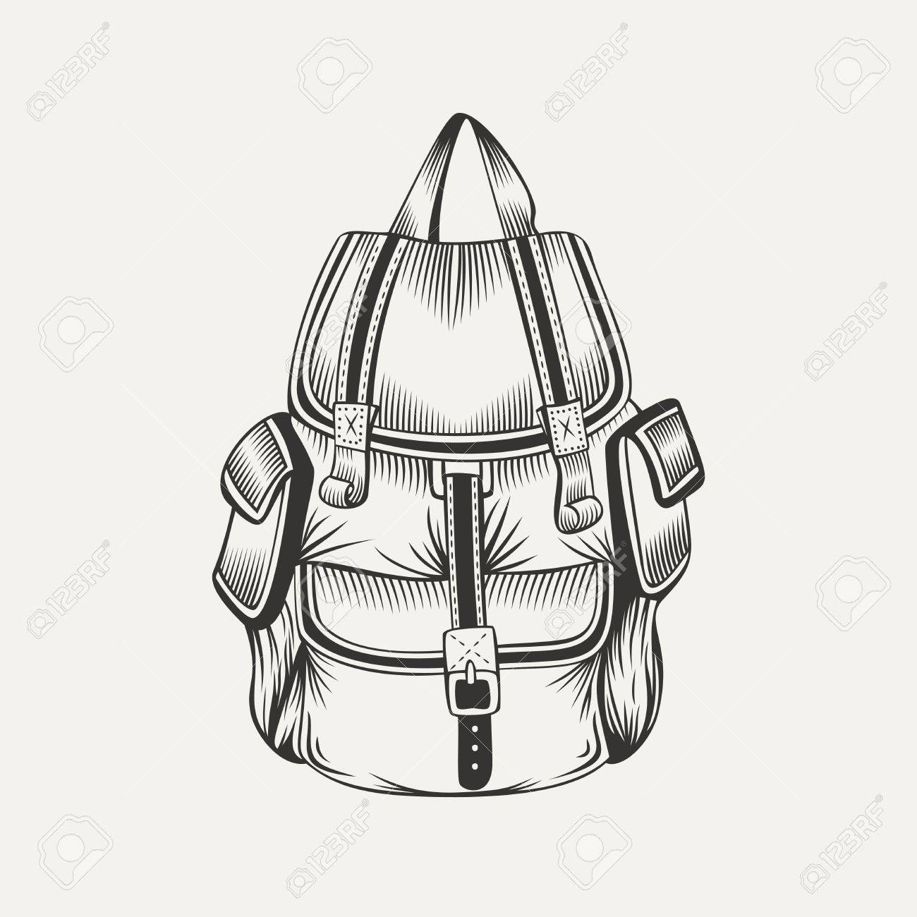 Illustration Of Hiking Backpack Camping Gear Stock Vector