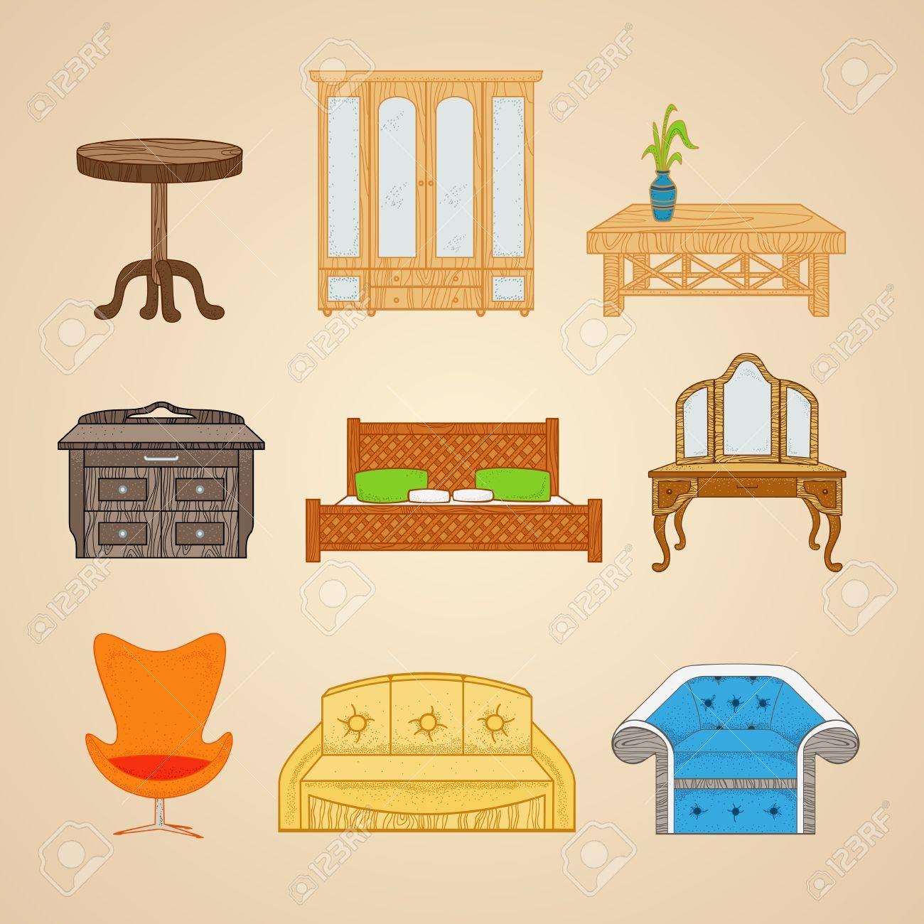 un conjunto de muebles en diferentes estilos en un fondo beige foto de archivo