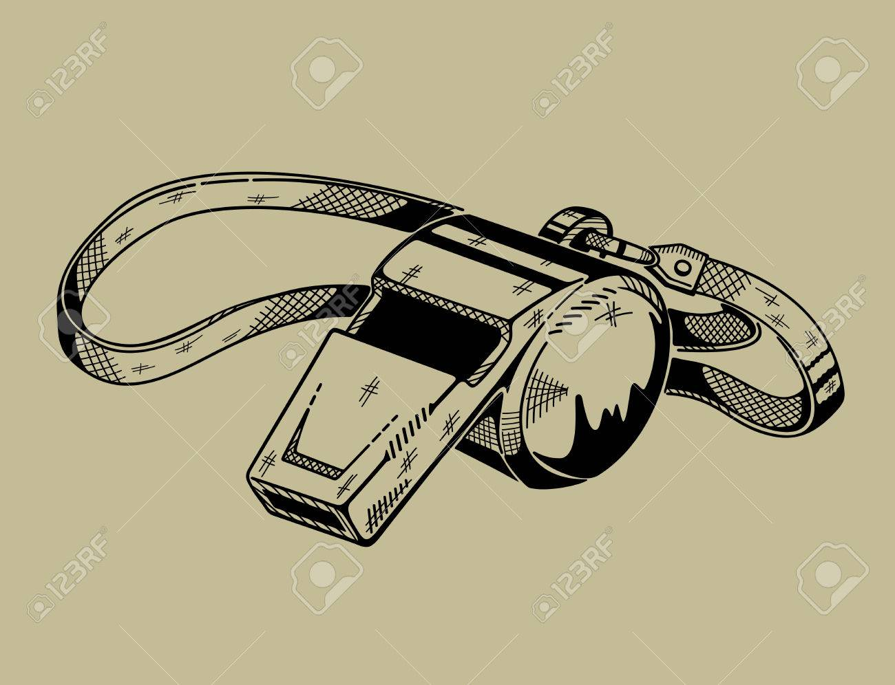 Line Drawing Vector Graphics : Monochrome illustration of whistle. vector graphics. royalty free