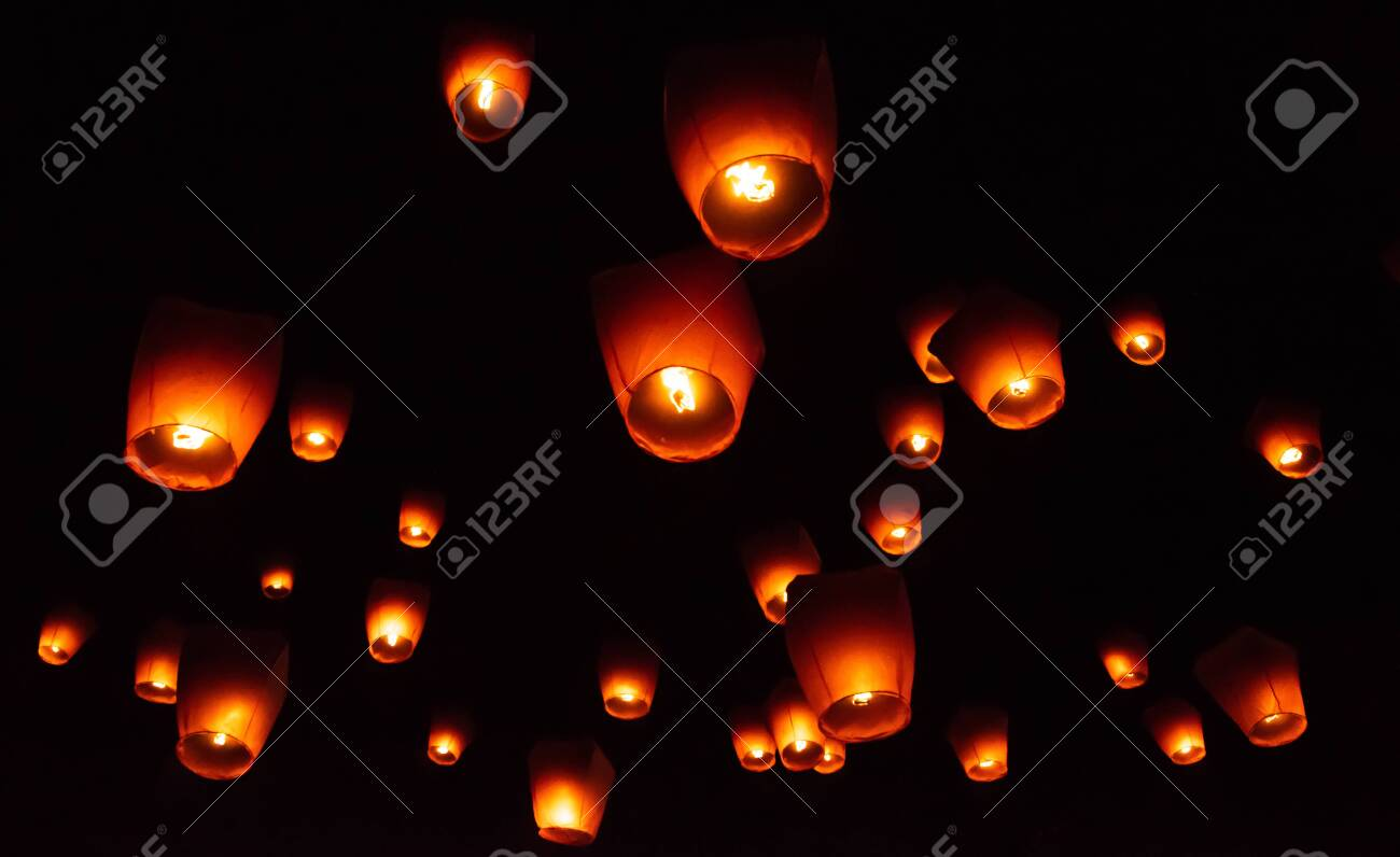 Glowing Paper Lanterns Illuminate The Night Sky During The Pingxi Stock Photo Picture And Royalty Free Image Image 140028992
