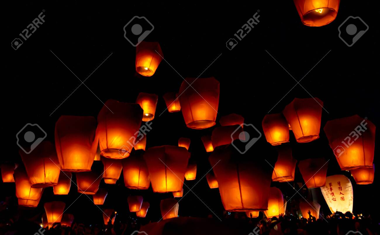 Glowing Paper Lanterns Illuminate The Night Sky During The Pingxi Stock Photo Picture And Royalty Free Image Image 140028998
