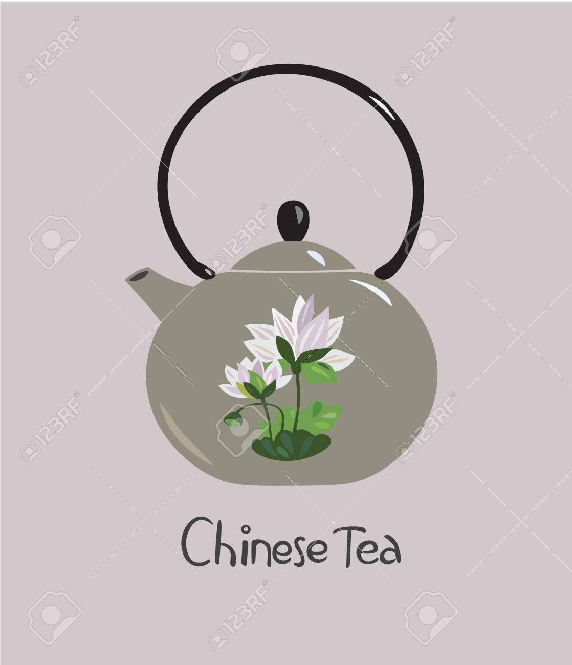 Vector illustration of chinese ceramic teapot with lotus flower vector vector illustration of chinese ceramic teapot with lotus flower izmirmasajfo