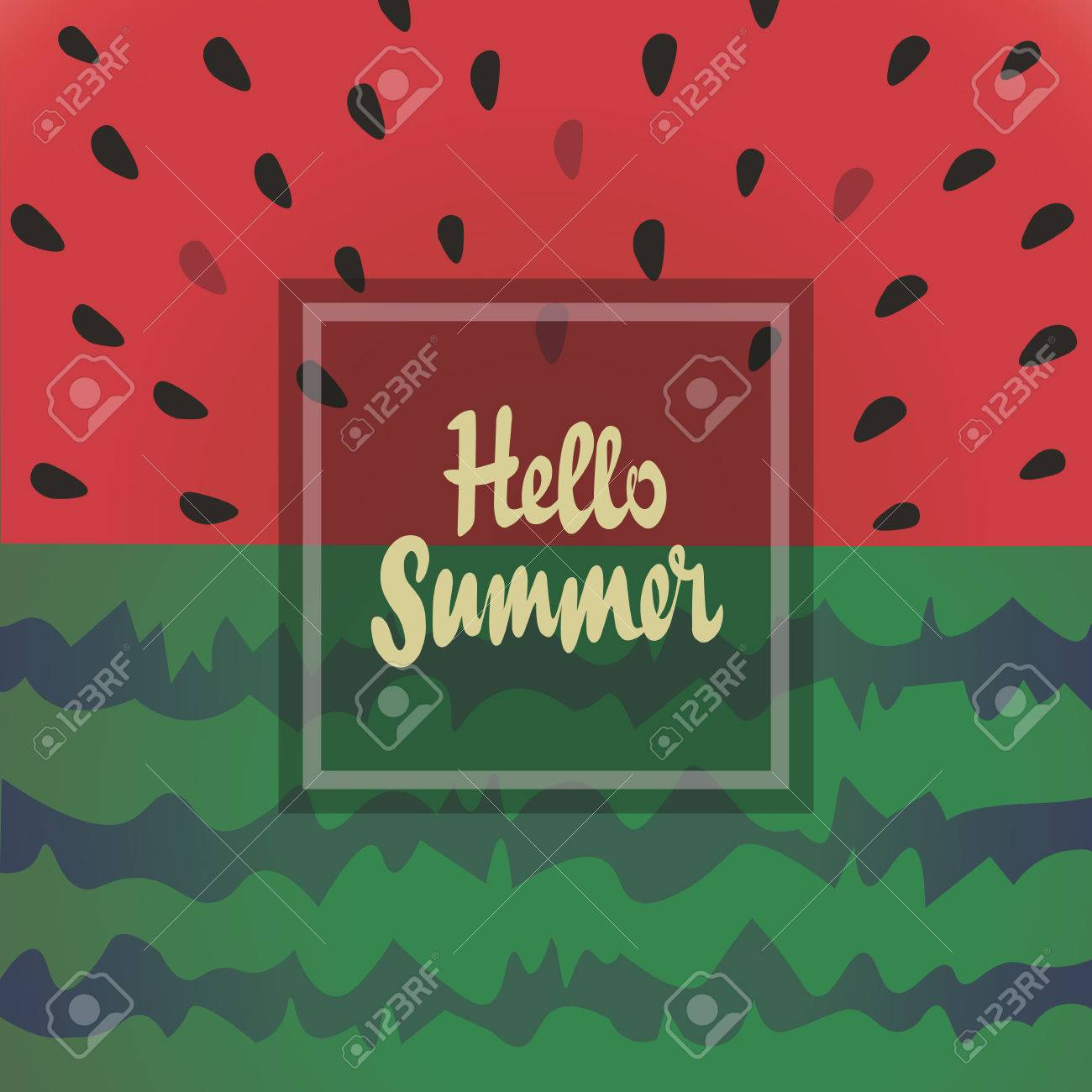 Hello Summer Vector Background With Watermelon. The Inscription, Lettering Hello  Summer. Design For