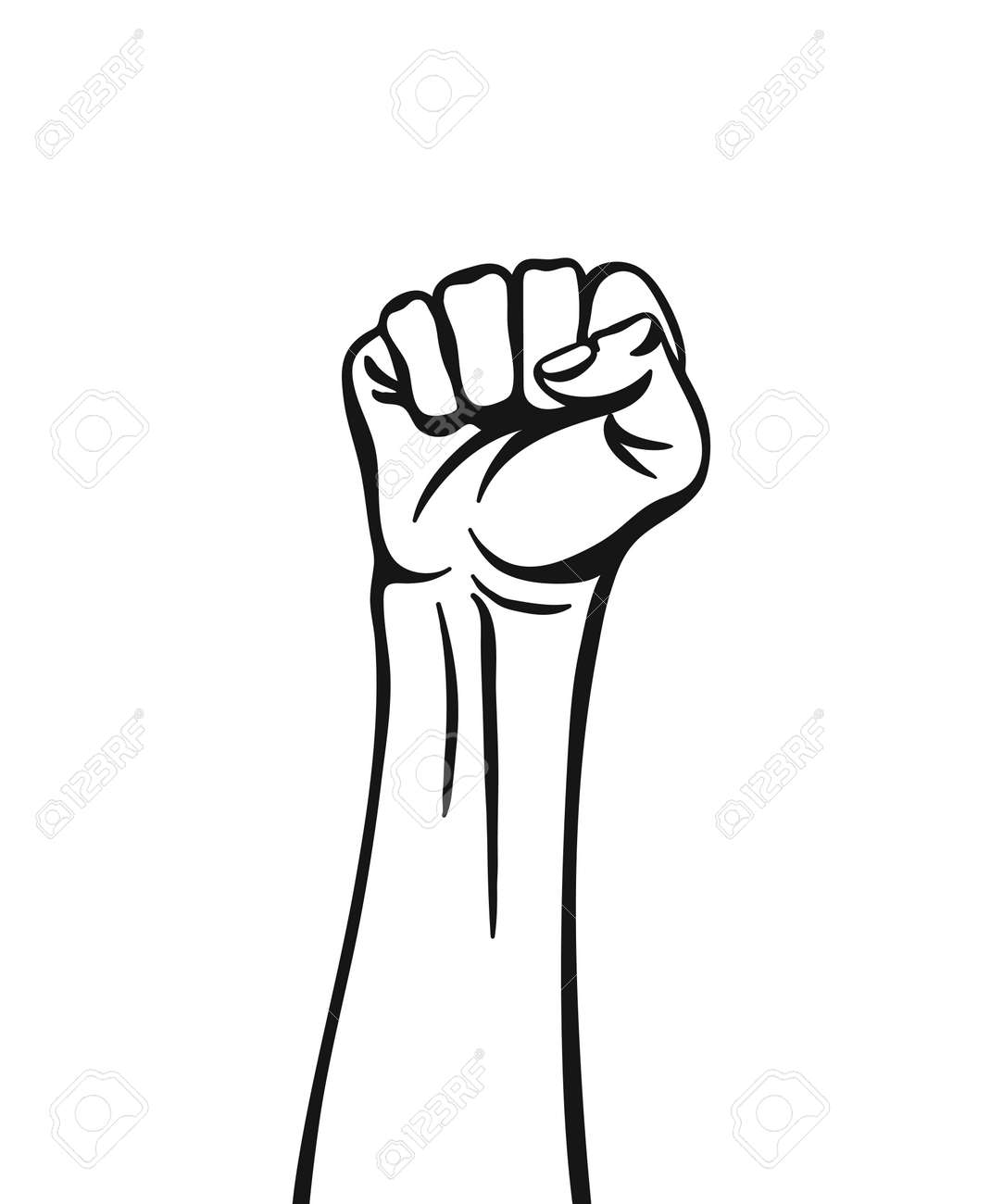 Raised hand with clenched fist. Vector illustration isolated on white background. - 162411945