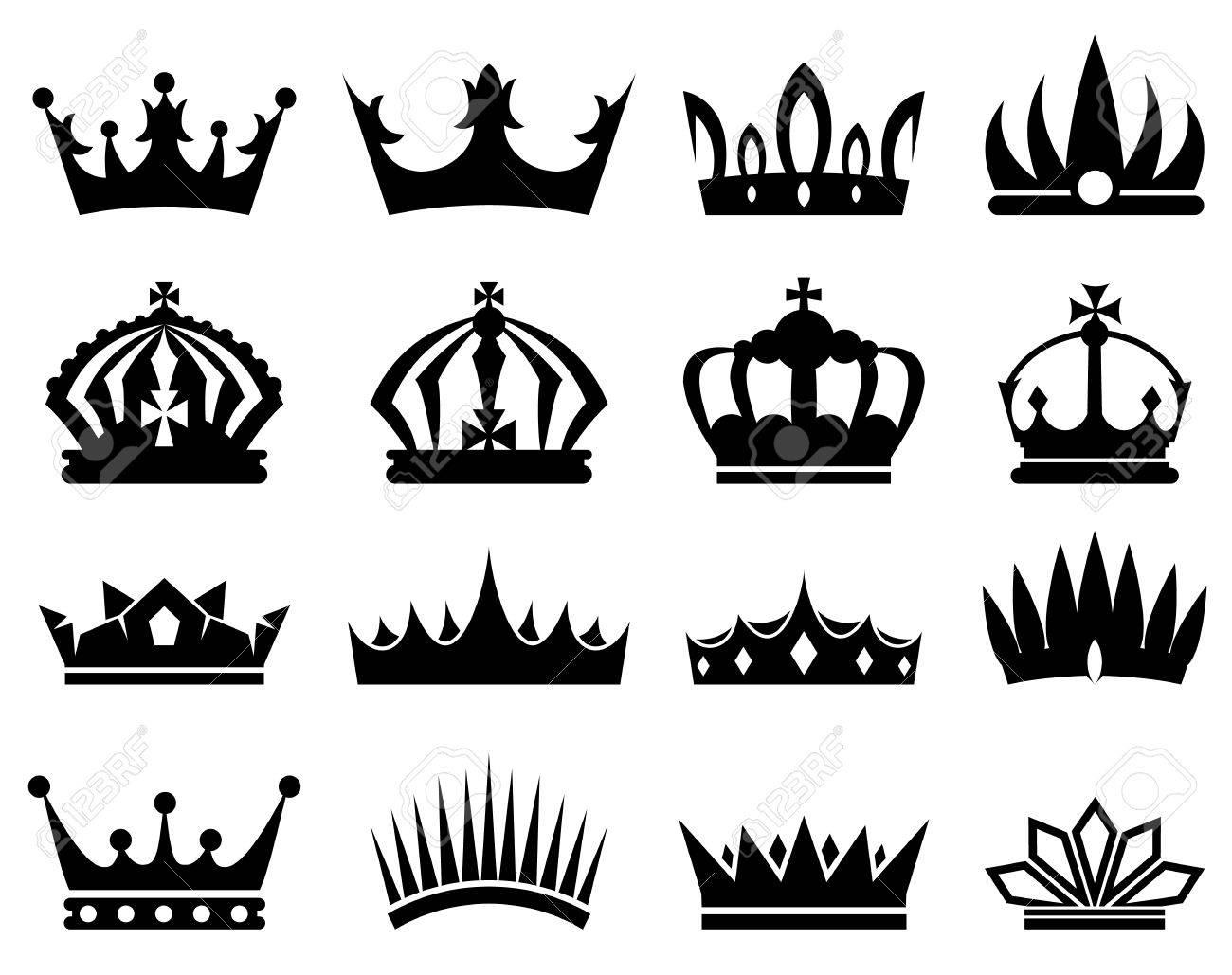 silueta coronas colección de siluetas negras sobre fondo blanco