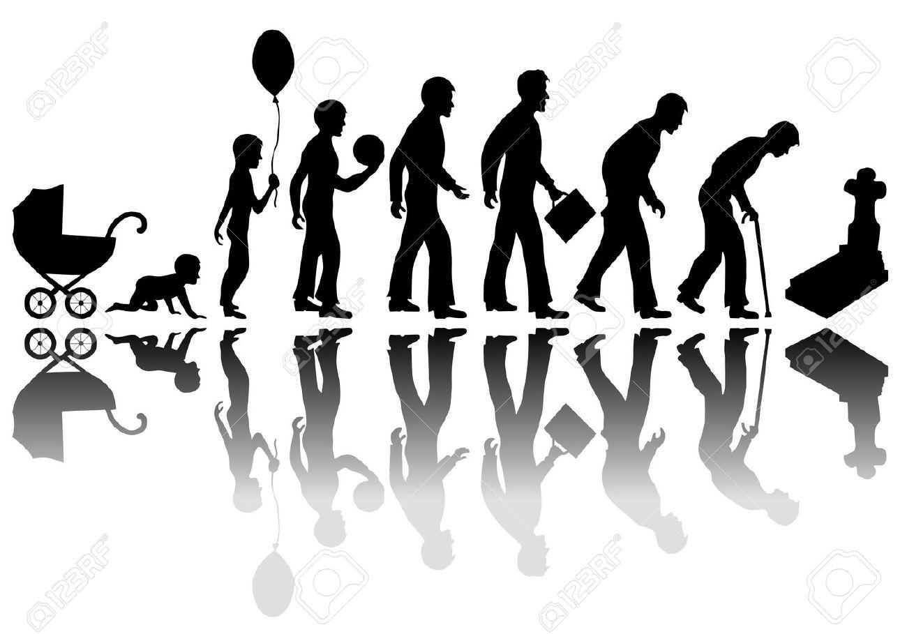 Temps qui passe l'homme concept. Illustration de la vie de la naissance à la mort Banque d'images - 47327875