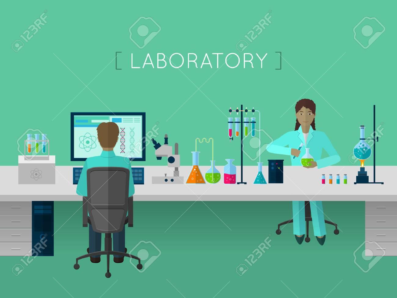 Laboratoire notion plat pour le Web et mobile Banque d'images - 47692493