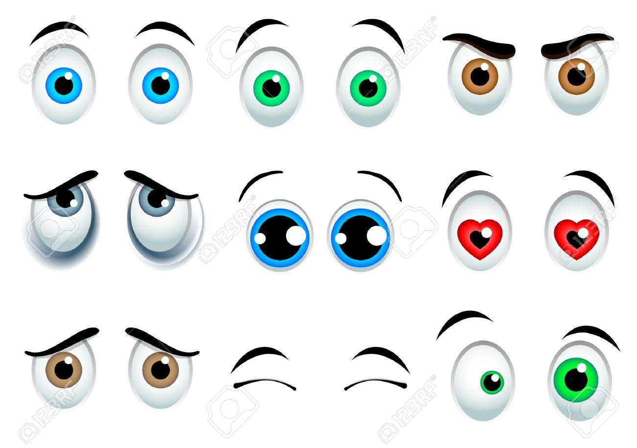9 yeux Cartoon set isolé sur fond blanc Banque d'images - 47693505