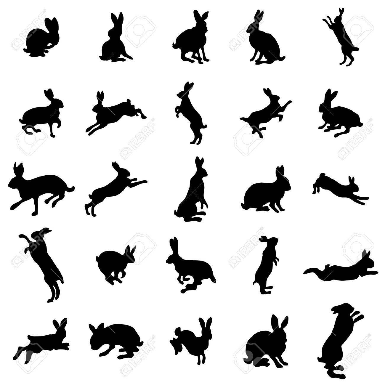 Silhouettes de lapin fixés sur le fond blanc Banque d'images - 47989390