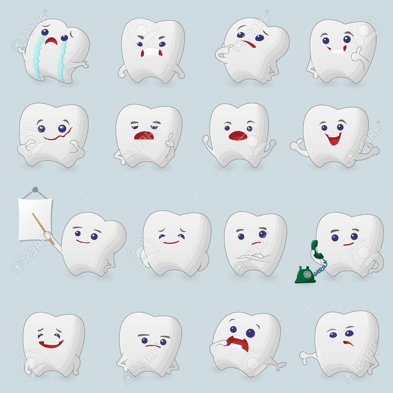 Dibujos Animados Dientes Apretados Ilustraciones Para Niños De La Odontología Sobre El Dolor De Muelas Y El Tratamiento