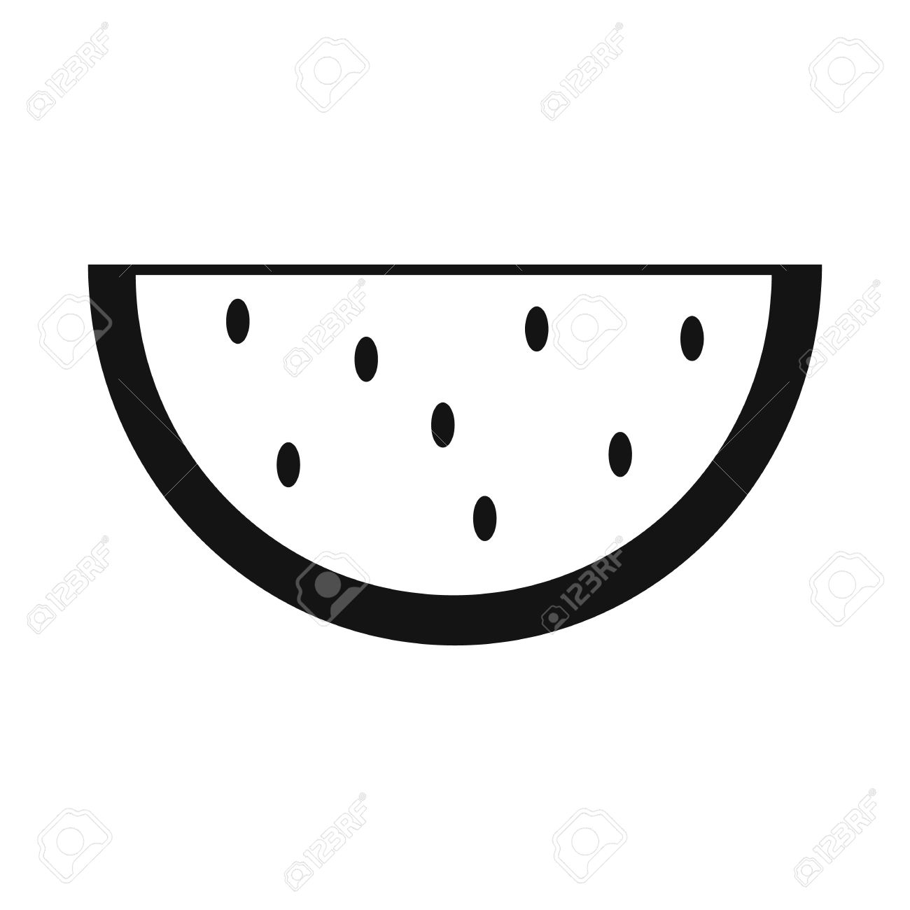 Slice Of Watermelon Simple Icon Isolated On White Background ... for Clipart Watermelon Black And White  131fsj