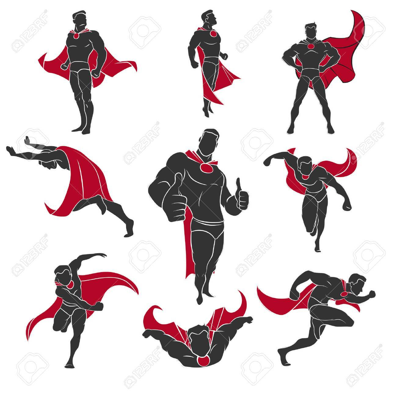 Superhero actions set in comics style. Isolated on white background Banque d'images - 47990708