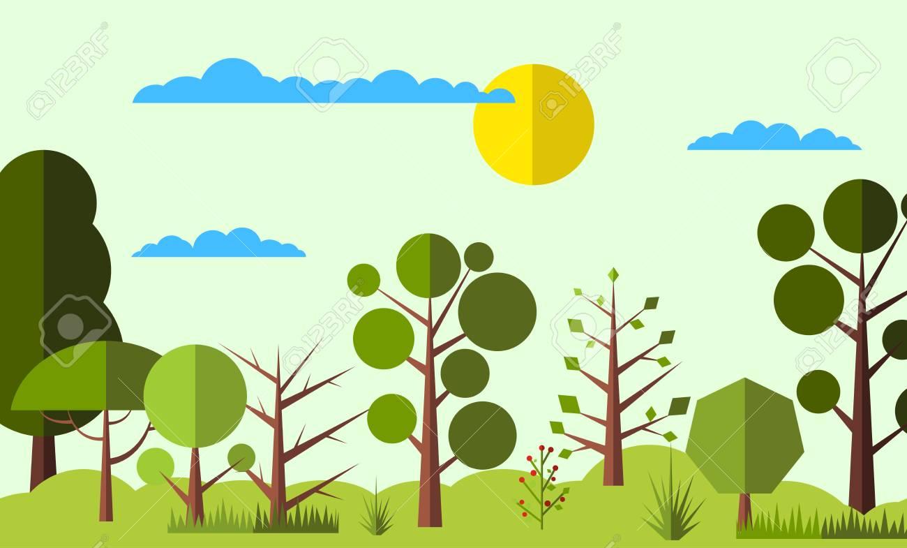 夏の森のフラット背景web およびモバイル デバイス用のシンプルで