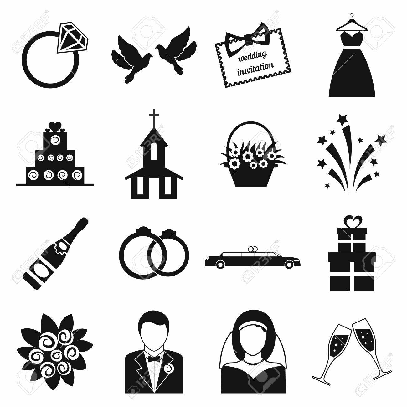 Hochzeit Symbole Gesetzt. Schwarz Einfache Symbole Auf Einem Weißen ...