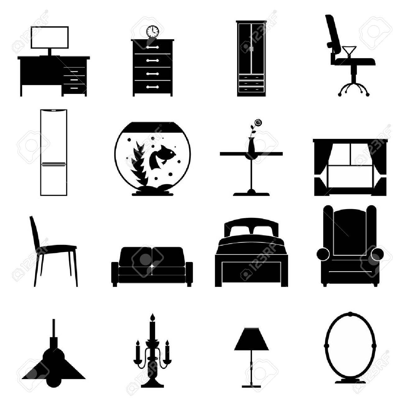 Furniture black icons set. Simple icons isolated on a white - 48327413