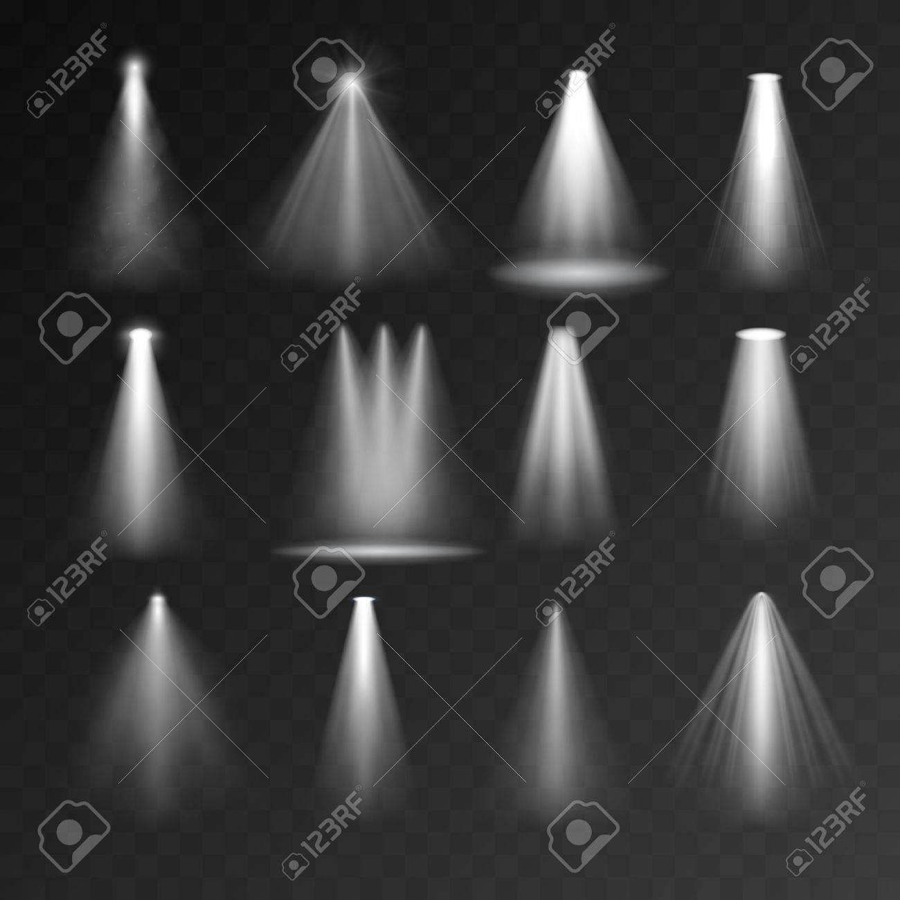 Les sources lumineuses fixées sur fond transparent. jeu de Spotlight pour les dispositifs web et mobiles Banque d'images - 48597142