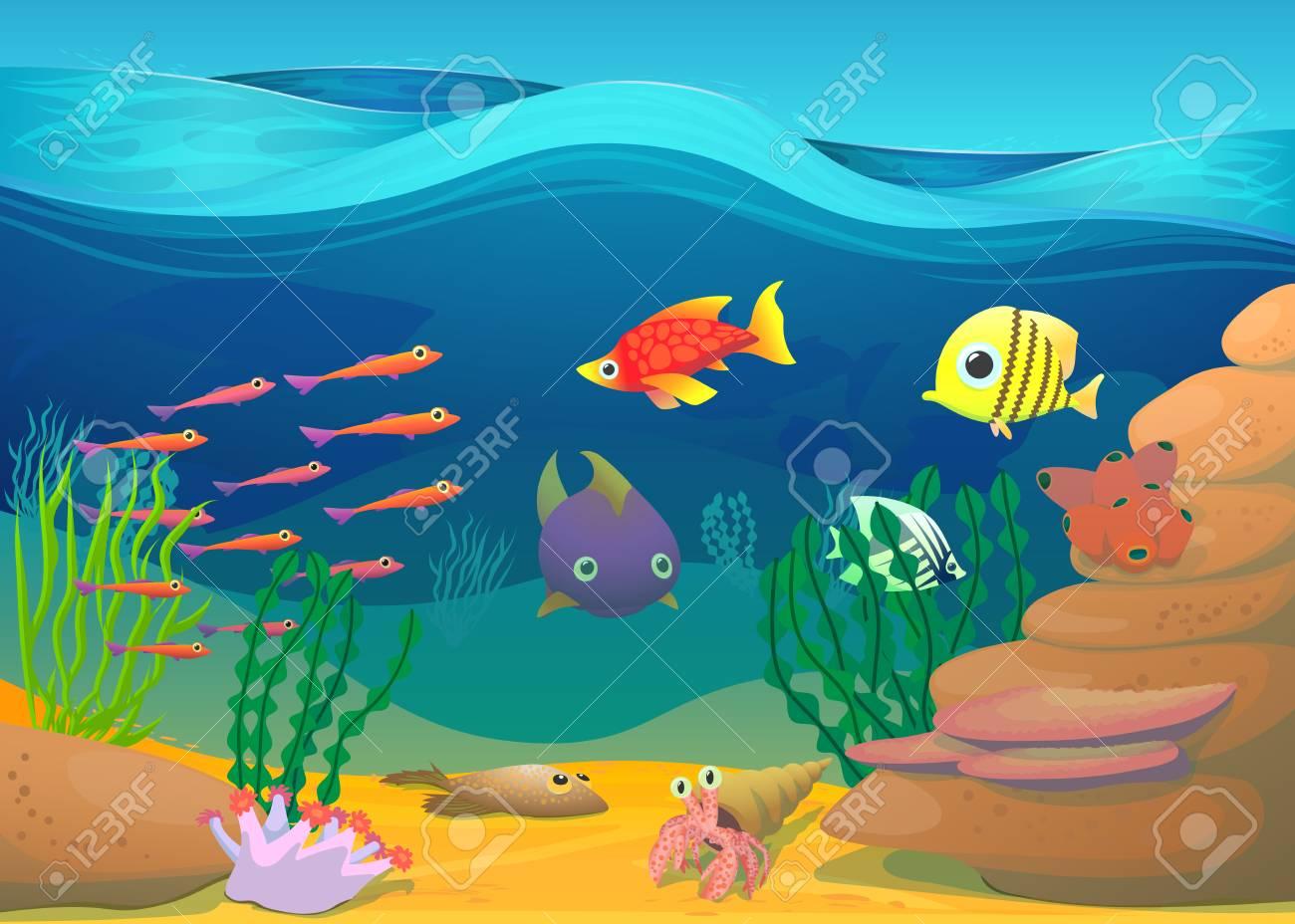 海藻イラスト漫画の魚多色画像のイラスト素材ベクタ Image 48597155