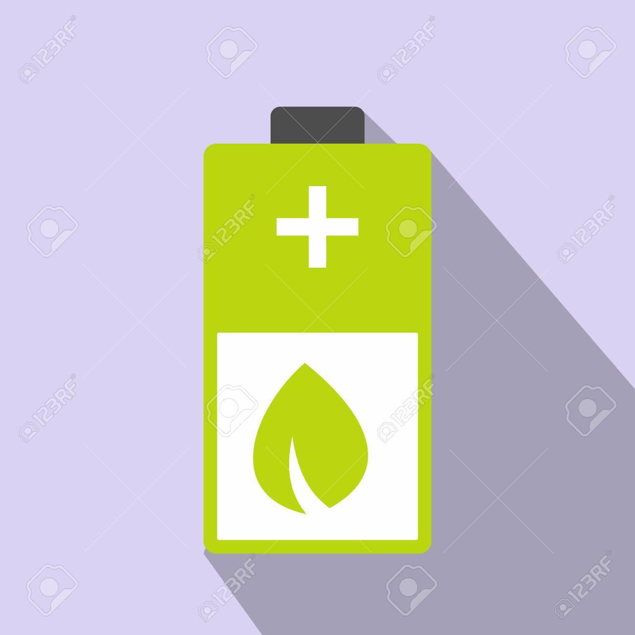 Ko-Energie Batterie-Symbol. Batterie Mit Blättern. Bunte Ökologie ...