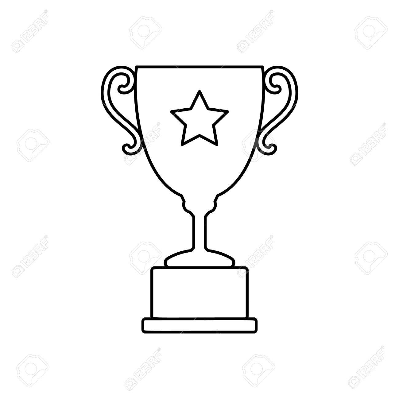 Trophy Cup Line Icon Thin Contour On White Background Stock Vector