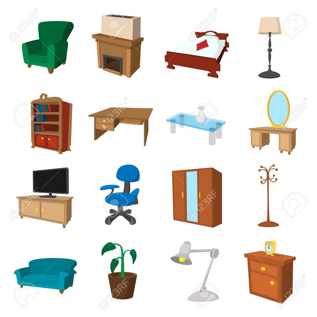 Furniture Cartoon Icons Set Illustrations Of Living Room And  # Muebles Sala Set