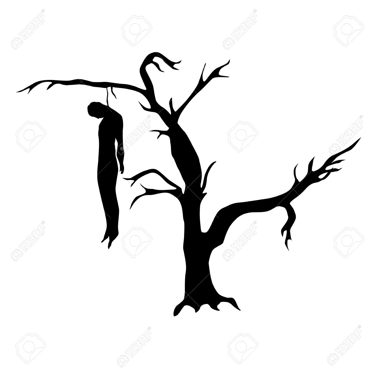 Man Hanged From A Dead Tree Silhouette Isolated On White Background Stock Vector