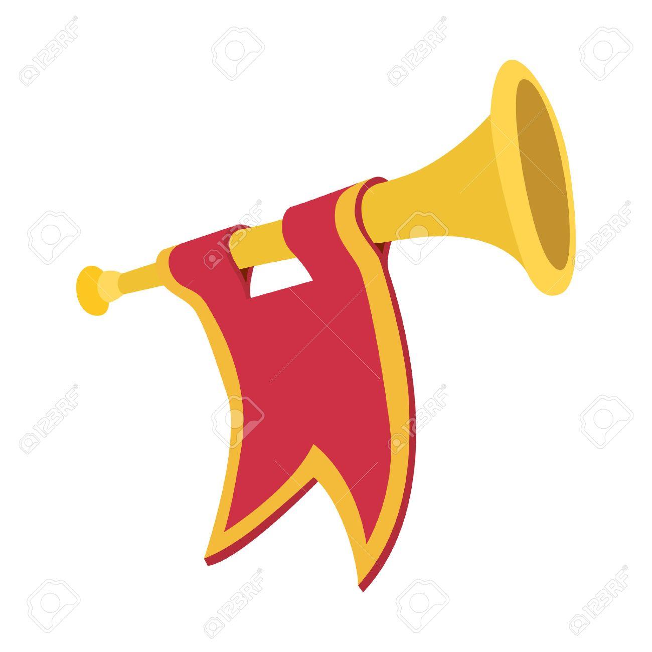 Trompette avec l'icône de dessin animé drapeau rouge sur un fond blanc Banque d'images - 49927219