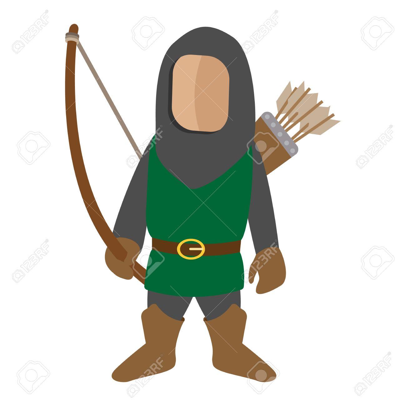 c1e4c0dff Foto de archivo - Medieval icono de dibujos animados arquero carácter. Solo  hombre sobre un fondo blanco