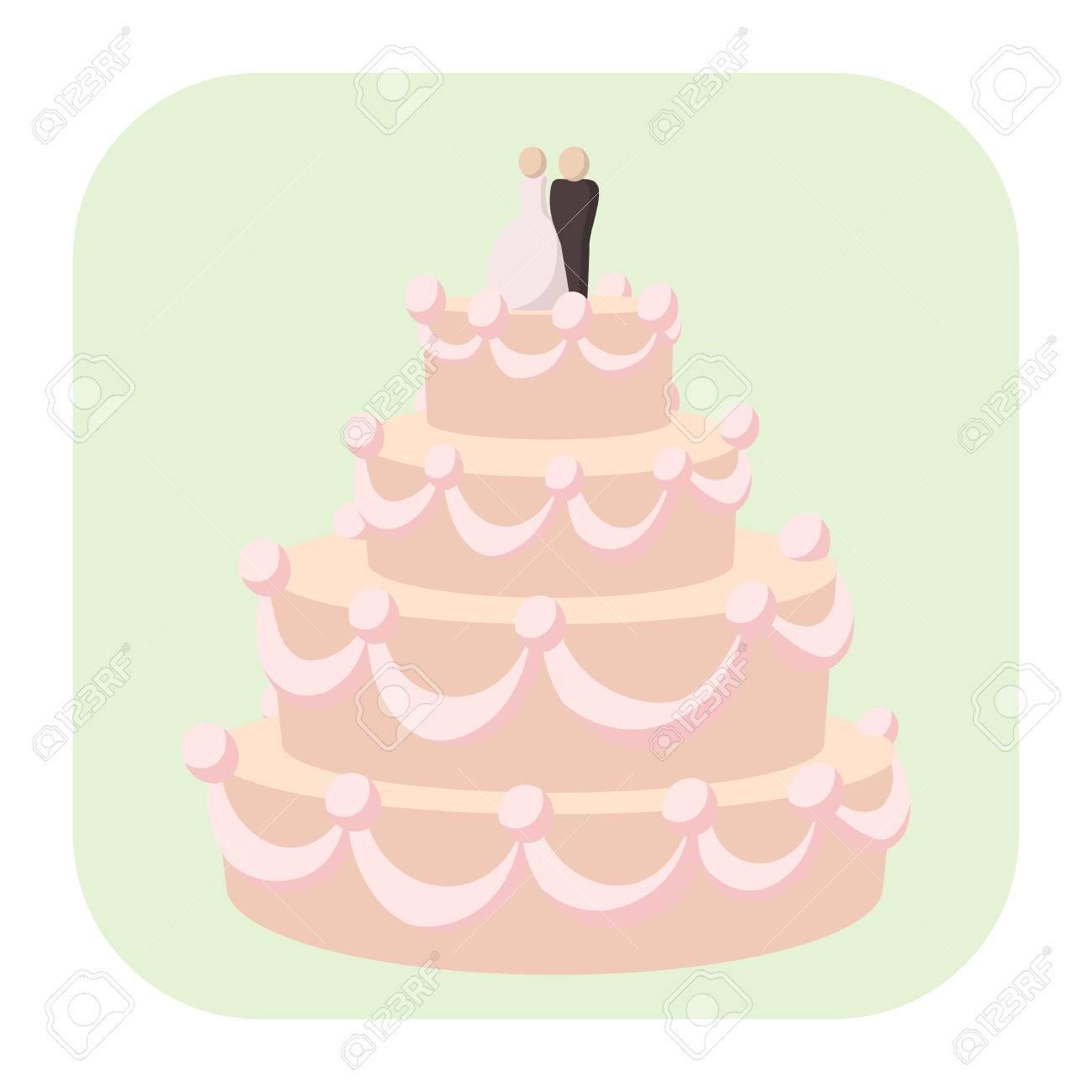 Wedding Cake Cartoon Icon. A Stylish Wedding Cake Decorated With ...