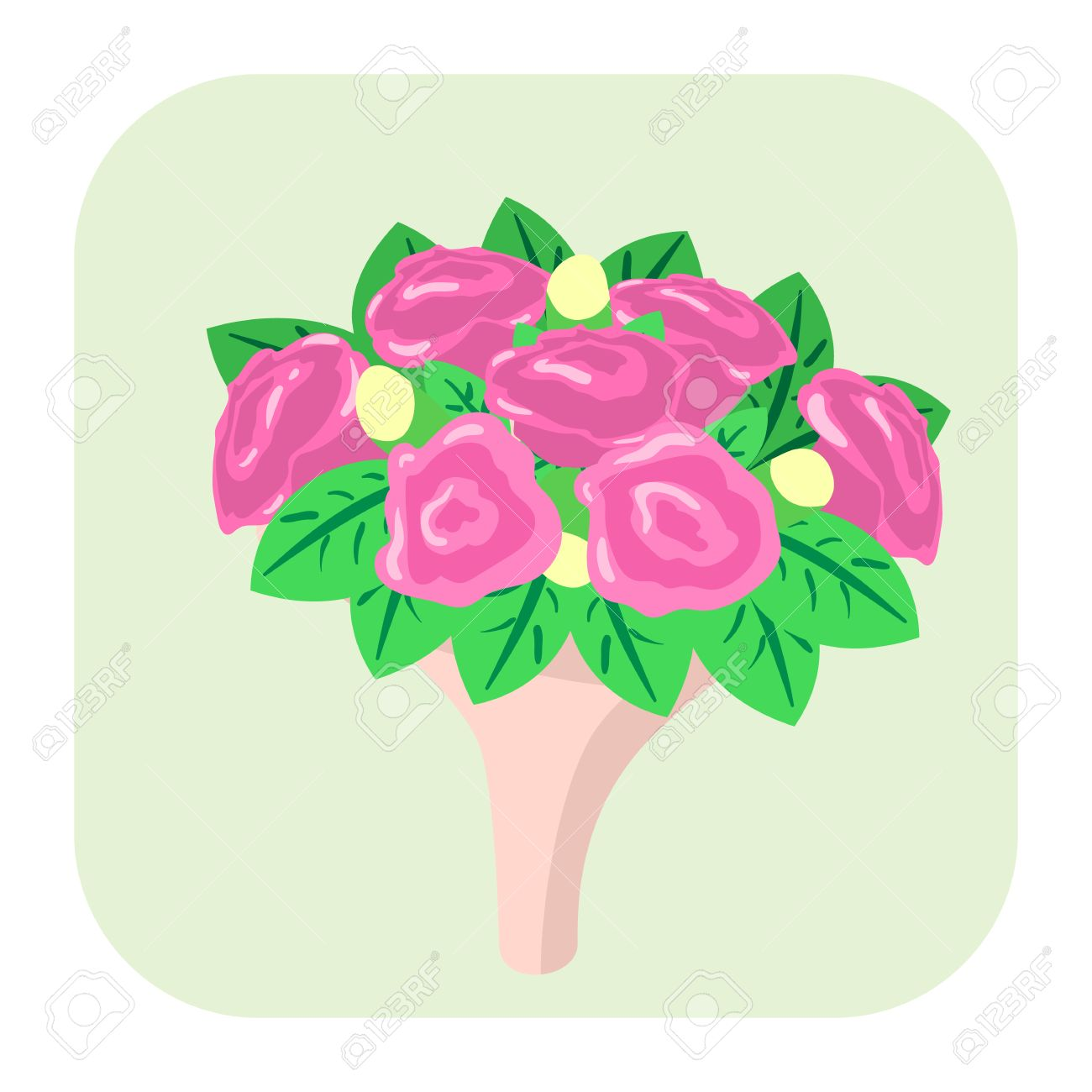 Bouquet Of Flowers Cartoon Icon Isolated On White Background Royalty ...