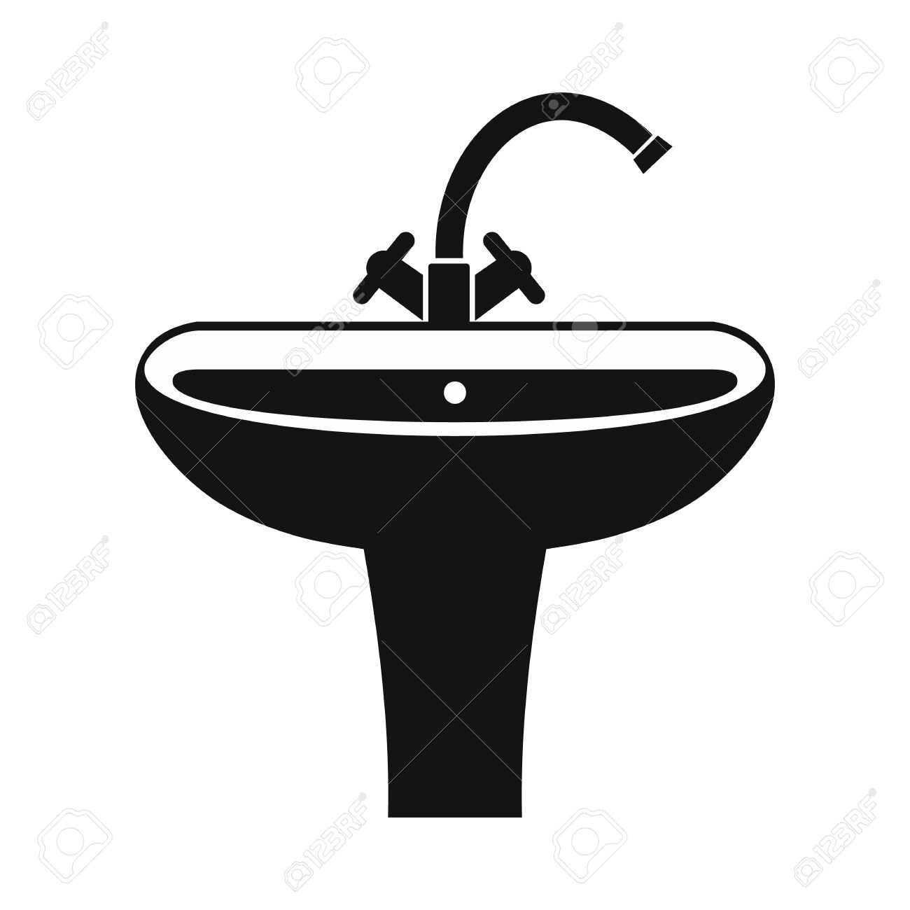 Washbasin Black Simple Icon On A White Background Royalty Free ... for bathroom sink clipart  110zmd