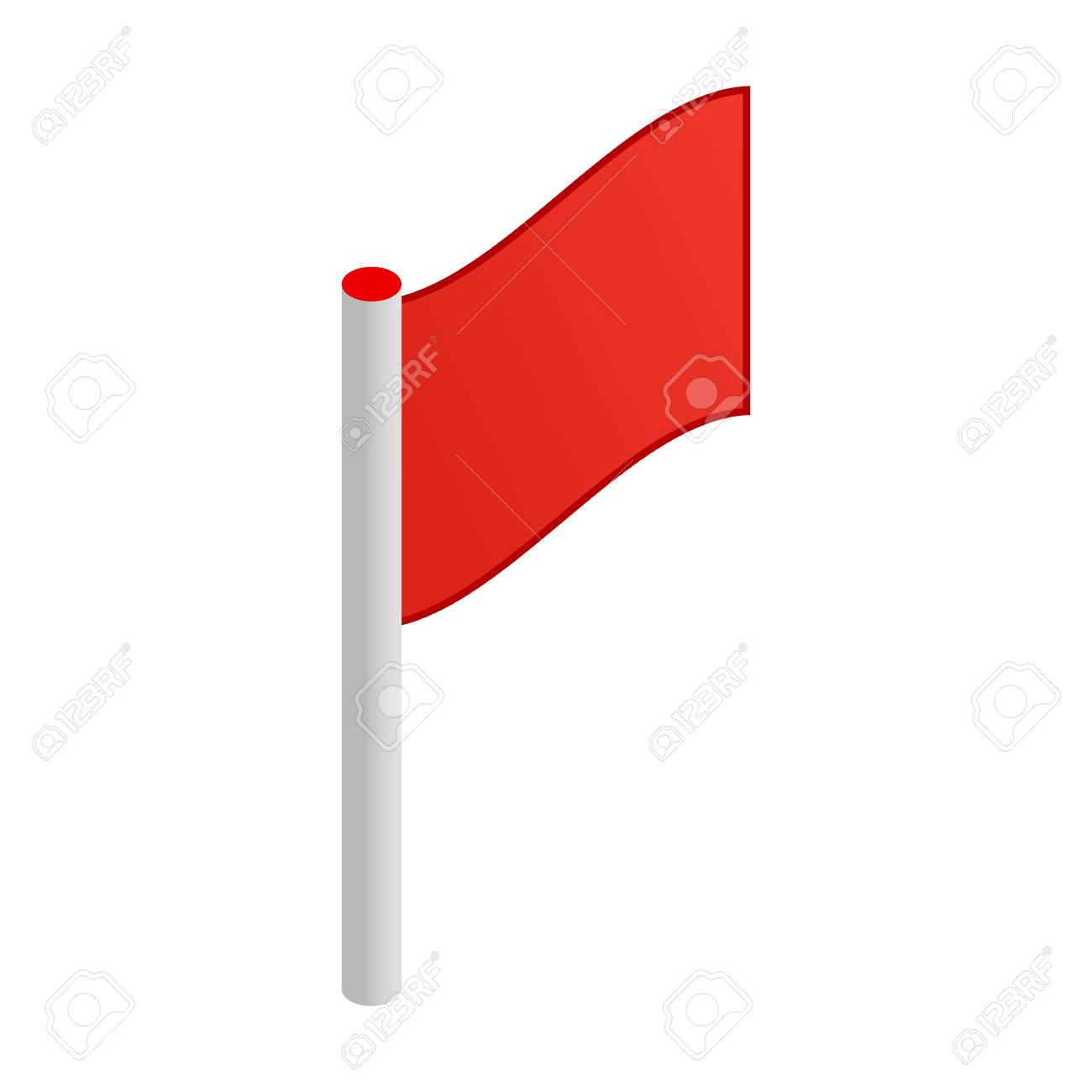 Red flag 3d isometric icon isolated on white background