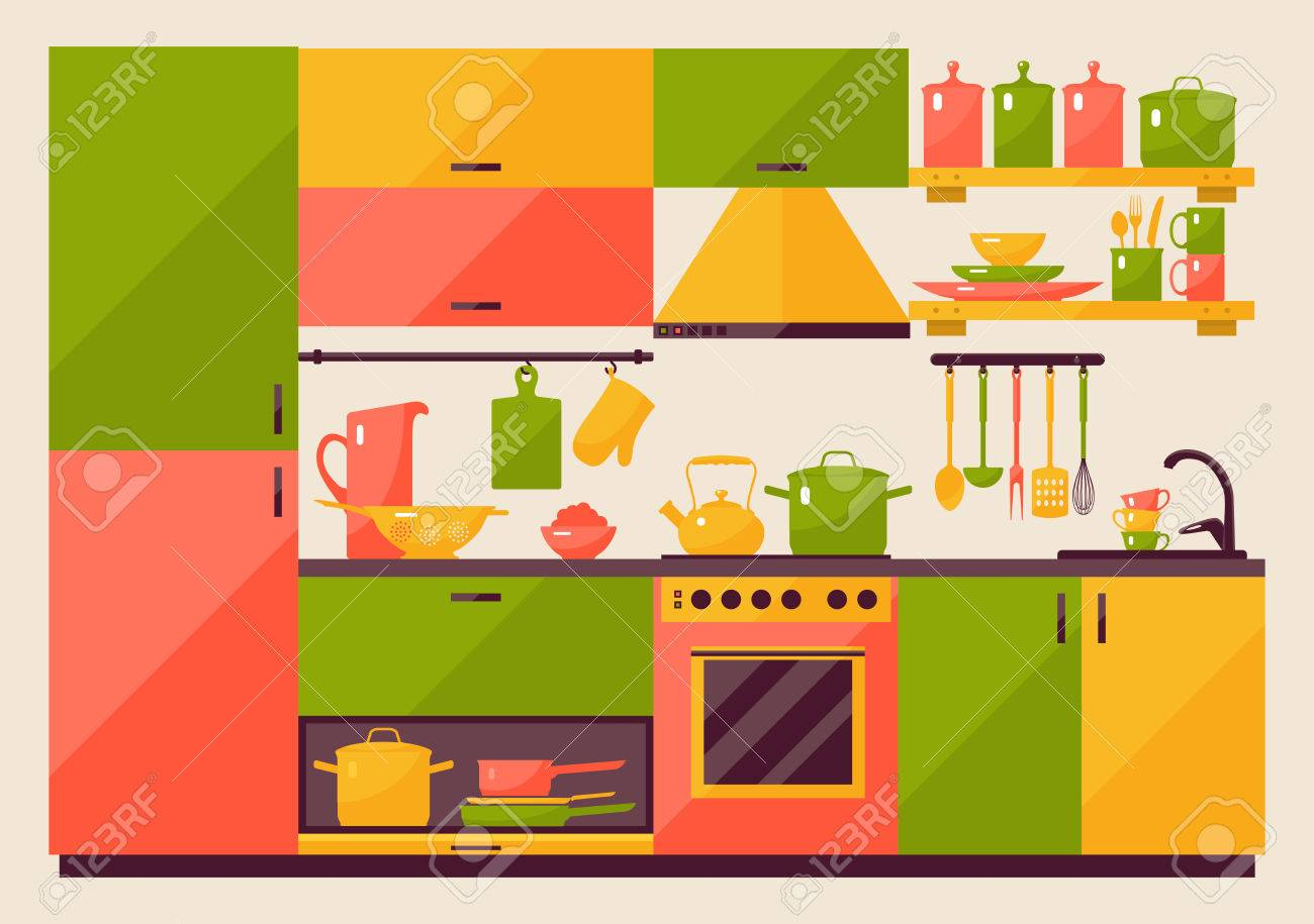 Cuisine avec des meubles dans un style plat pour les dispositifs web et mobiles Banque d'images - 50341518