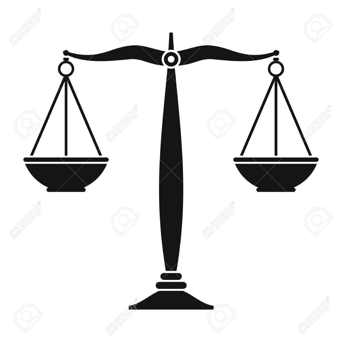 Justice scales black icon. Simple black symbol on a white background - 50342062