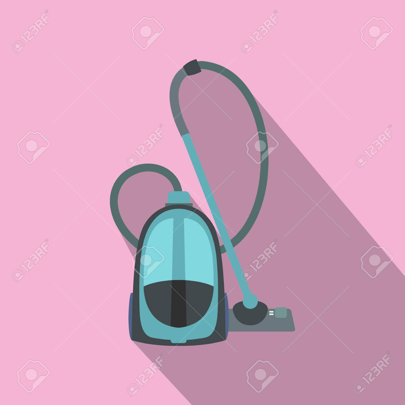 Blue Vacuum Cleaner Flat Icon On A Pink Background Stock Vector