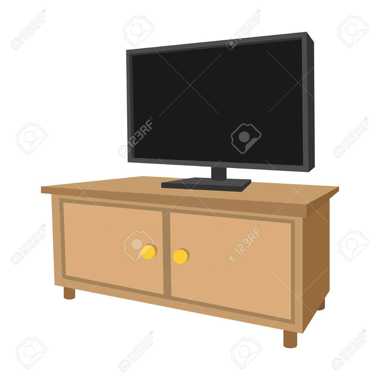 Cool Wooden Tv Cabinet With A Large Tv Cartoon Icon On A White Background Creativecarmelina Interior Chair Design Creativecarmelinacom