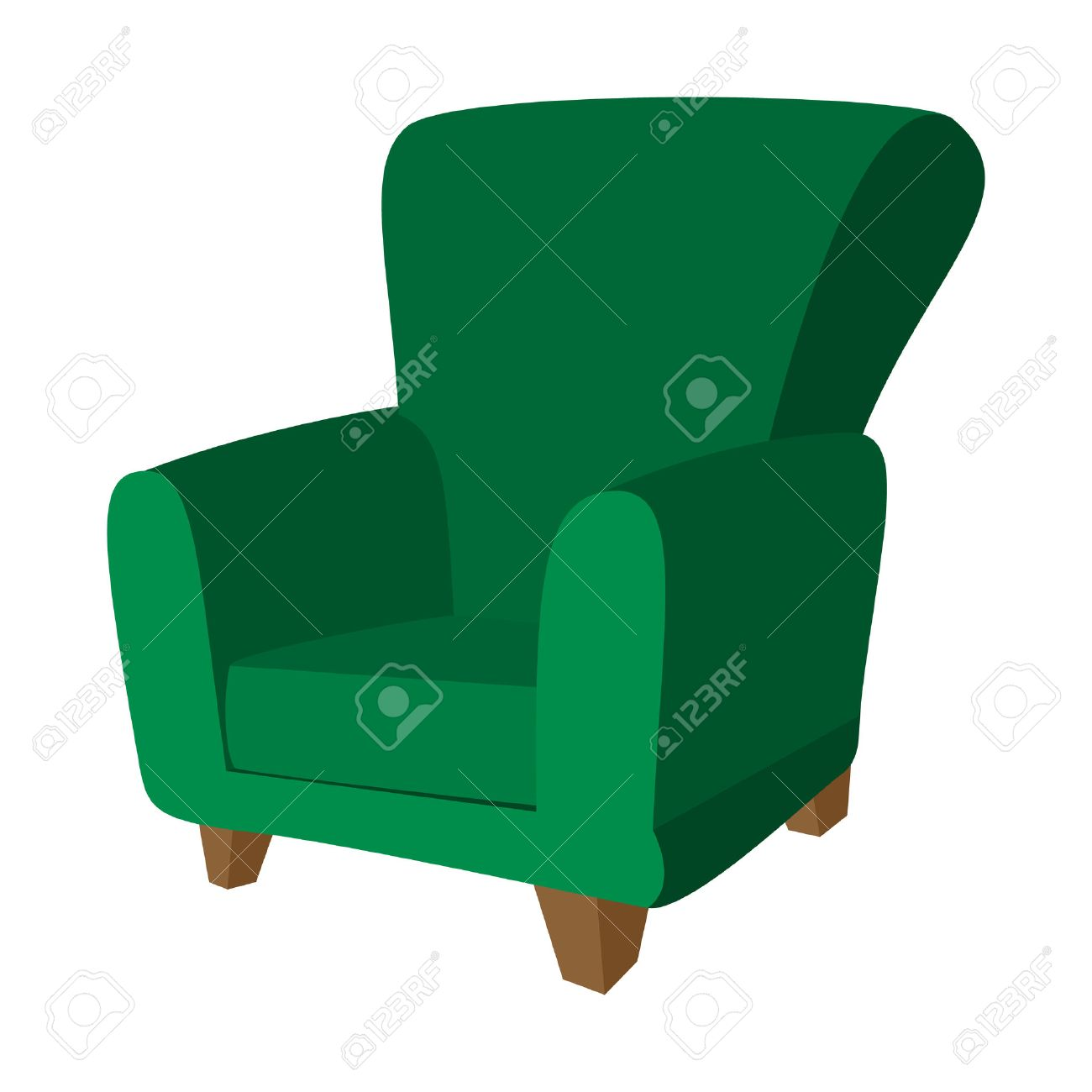 Green Armchair Cartoon Icon On A White Background Stock Vector   51175962
