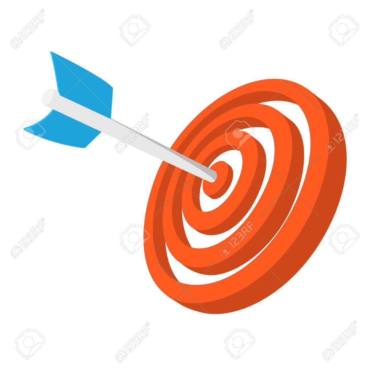Cible avec l'icône de bande dessinée de fléchettes. Orange et symbole bleu isolé sur un fond blanc Banque d'images - 51175757