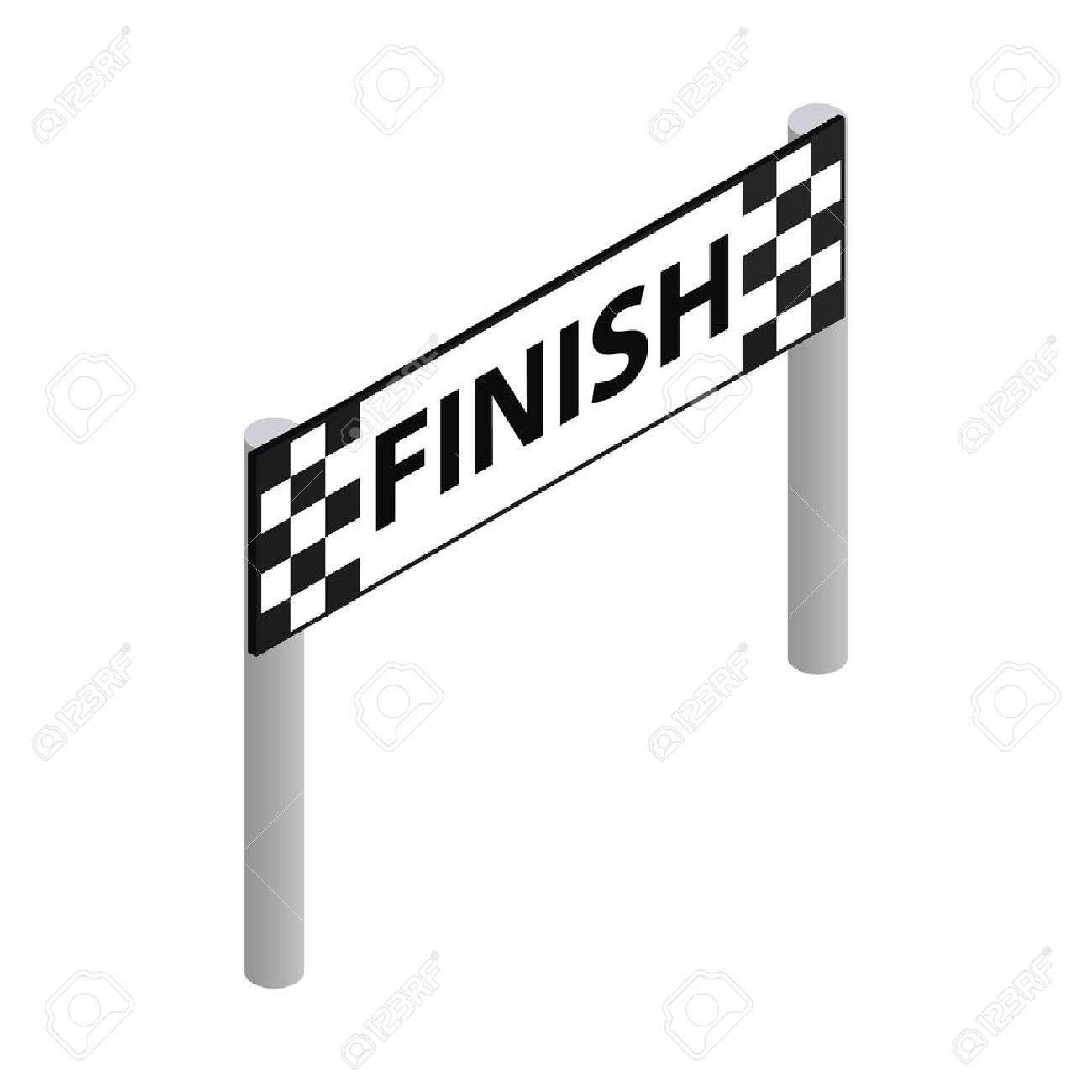 Finish Line Isometric 3d Icon On A