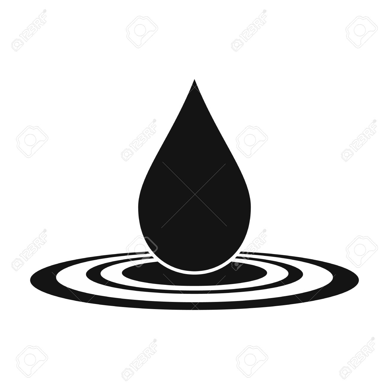 Vector water drop black simple icon isolated on white background