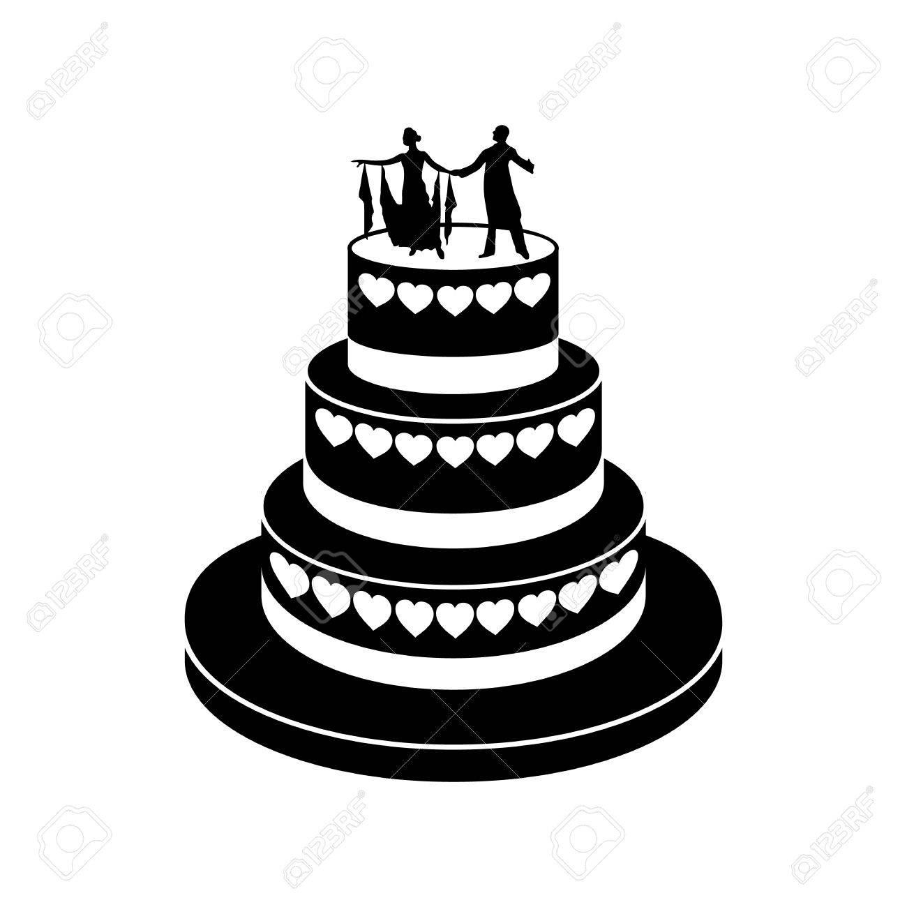 Hochzeitstorte Einfach Symbol Auf Einem Weissen Hintergrund