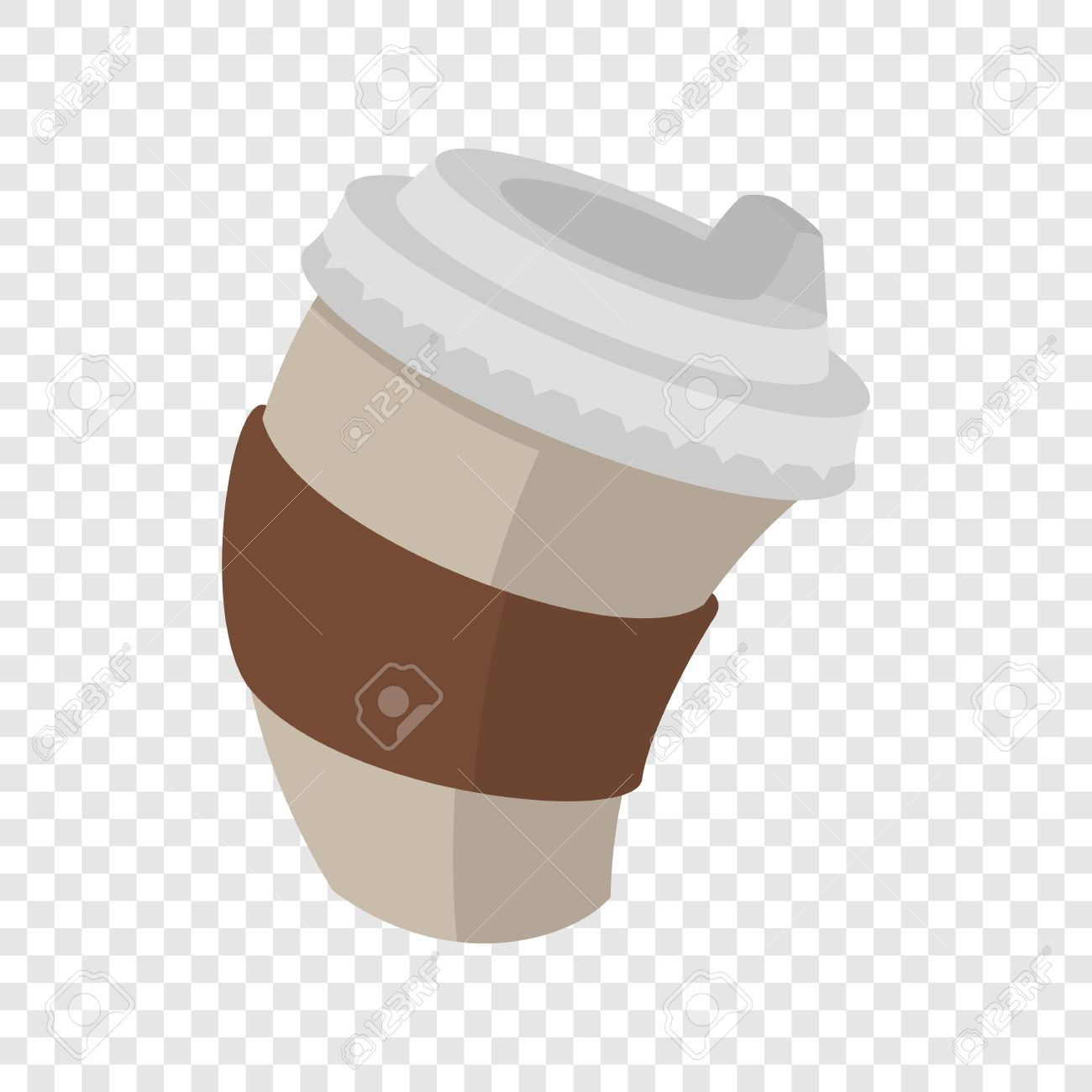Paper Coffee Cup In Cartoon Style On Transparent Background Stock Vector