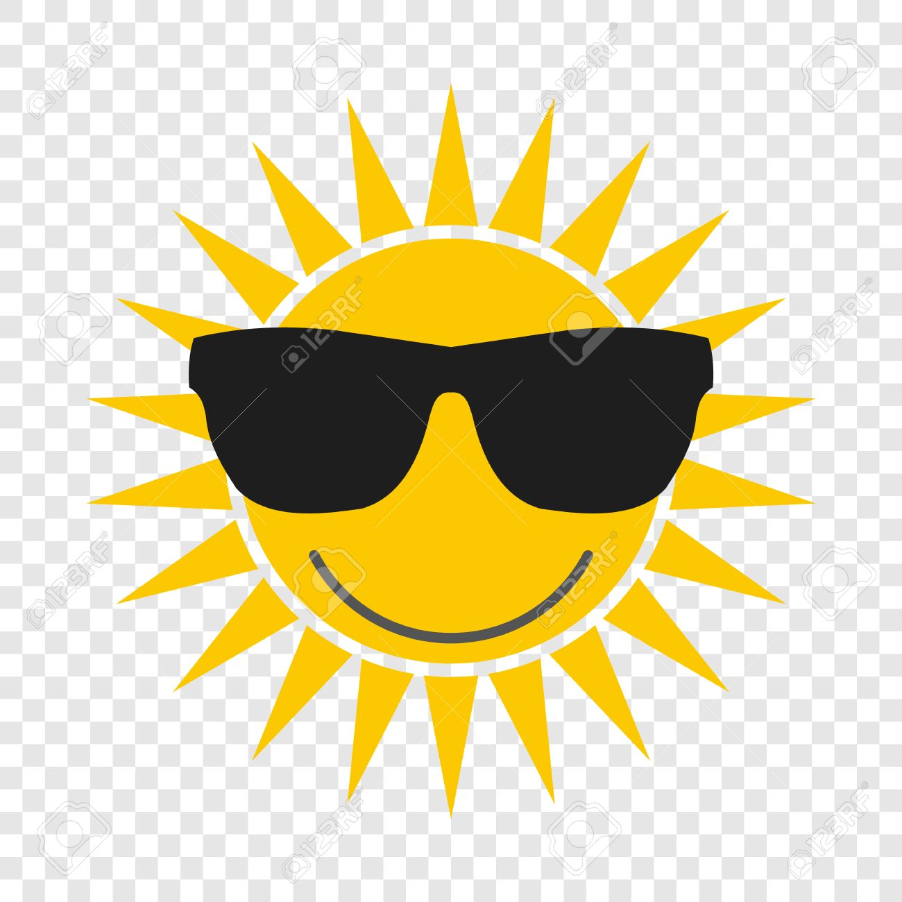 sun with glasses flat icon on transparent background royalty free