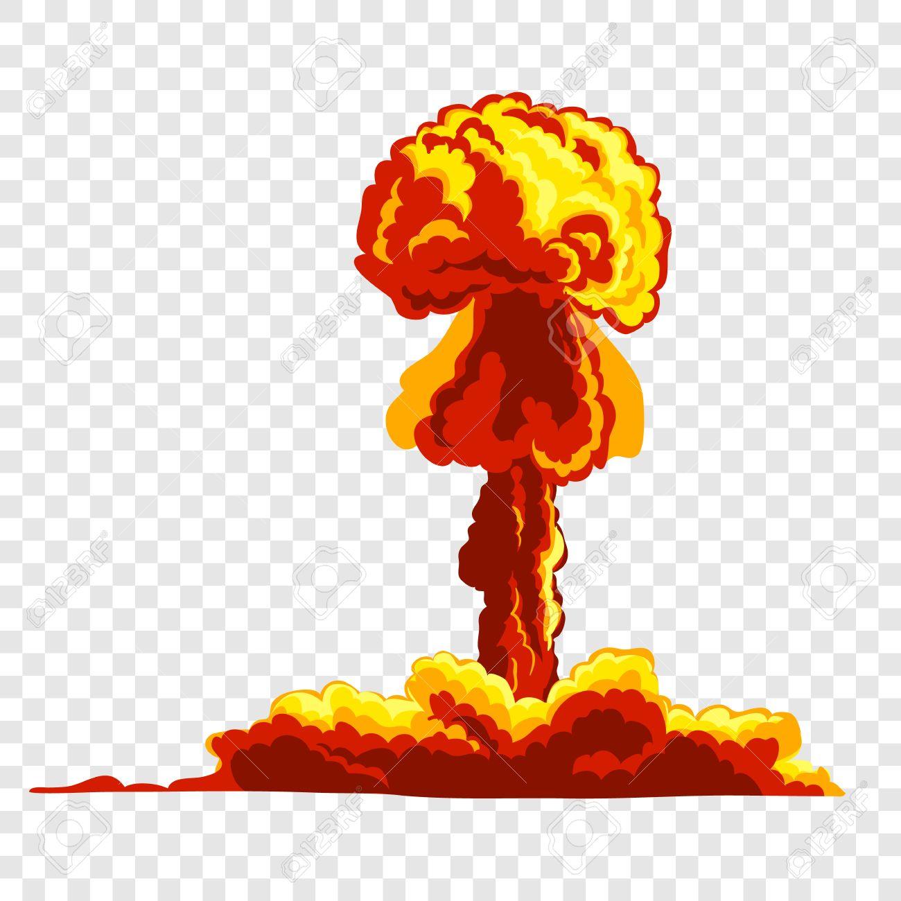 Mushroom cloud. Orange and red illustration on transparent background - 51730523