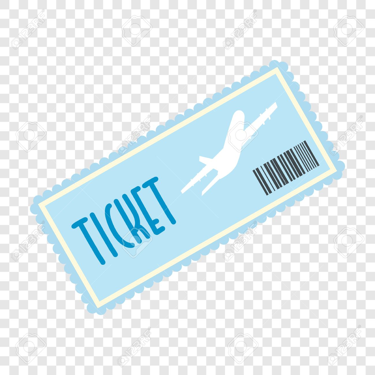 Airplane Ticket Flat Icon On Transparent Background Stock Vector