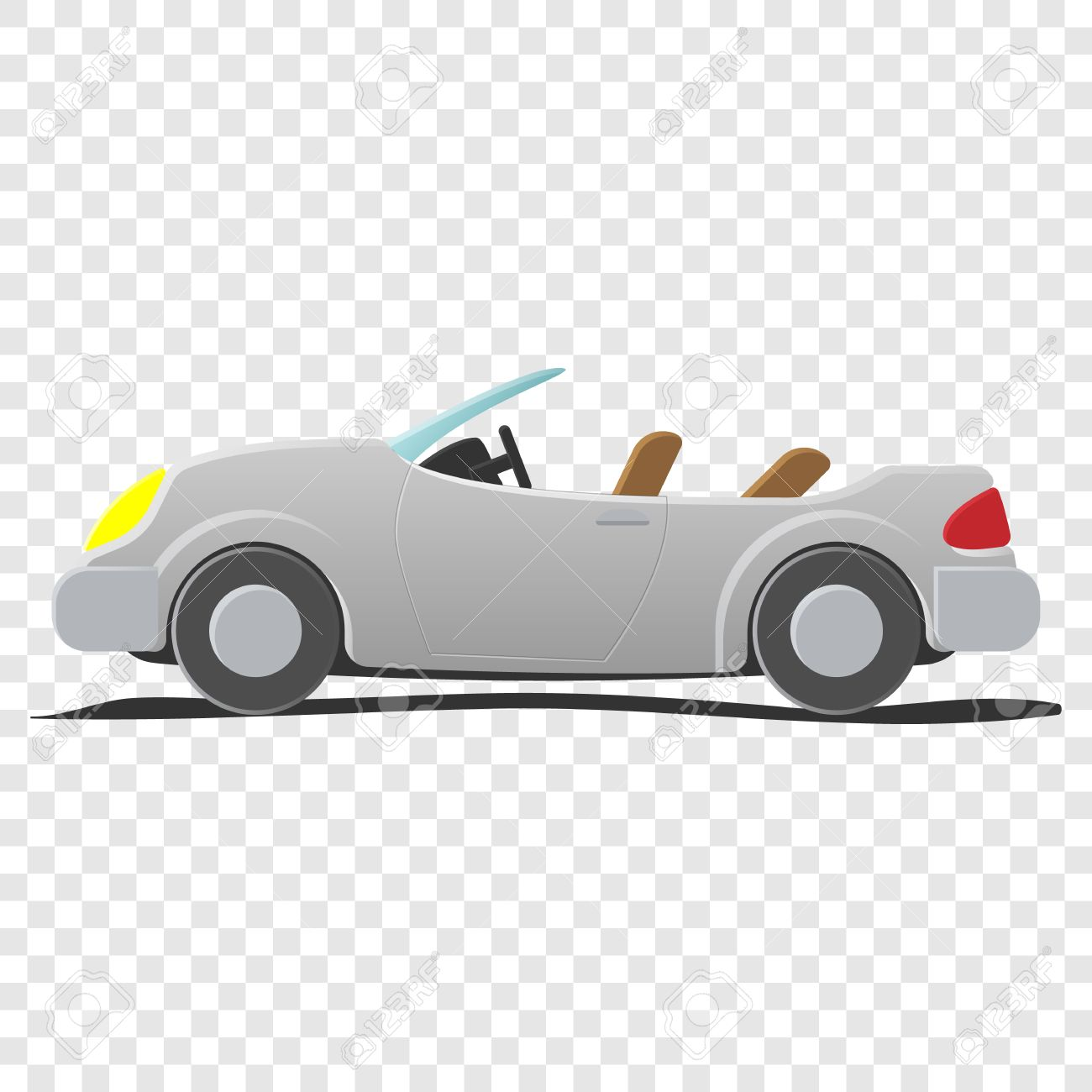 Convertible Cartoon Car Illustration On Transparent Background