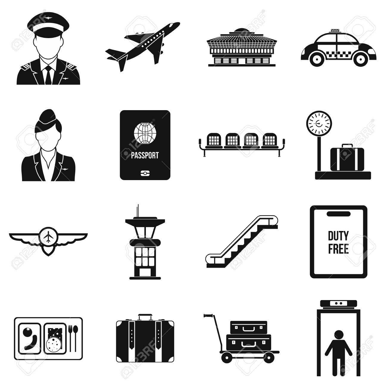 Flughafen Schwarz Einfache Symbole Auf Weißem Hintergrund Lizenzfrei ...