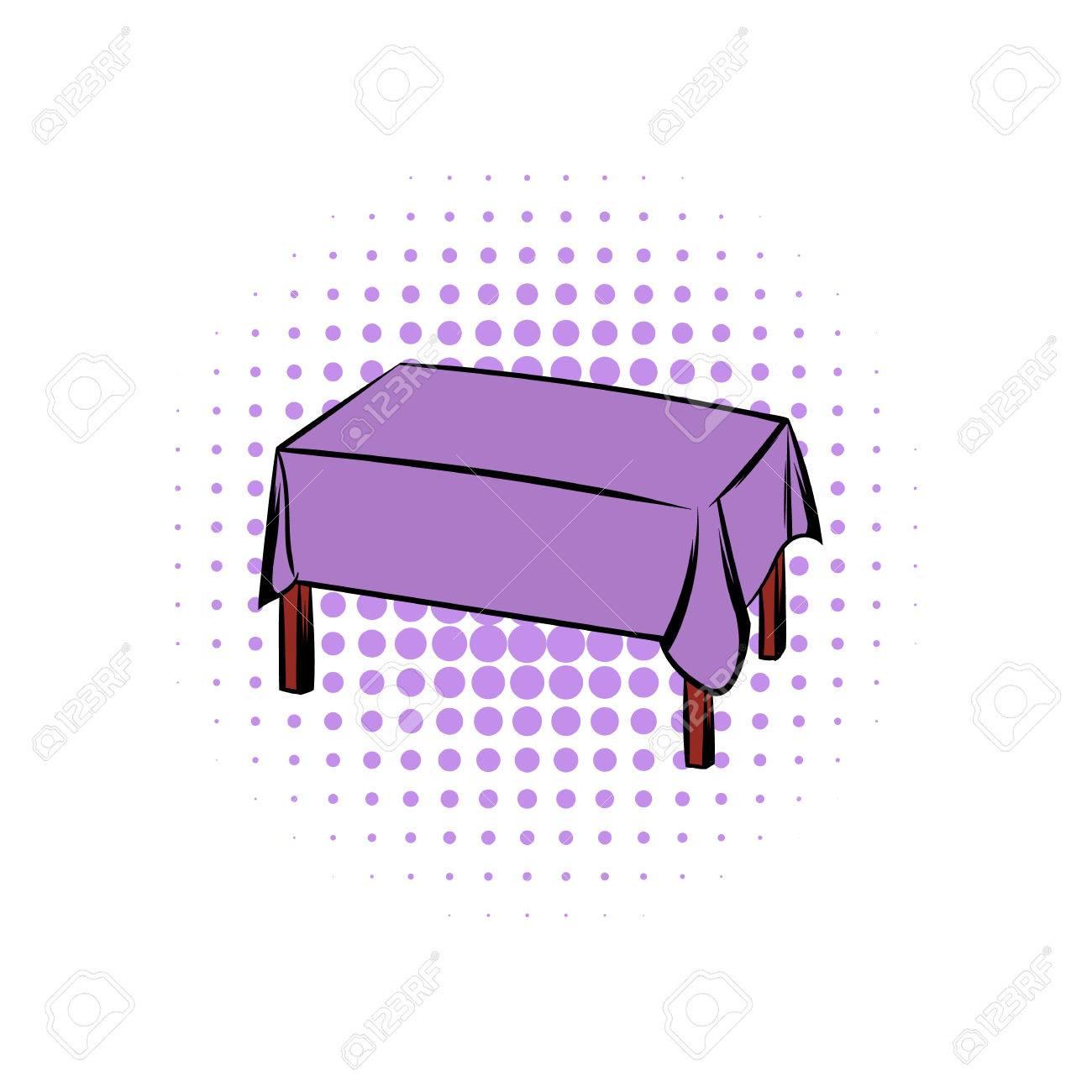 Tisch mit einer Tischdecke Comics Symbol auf einem weißen Hintergrund