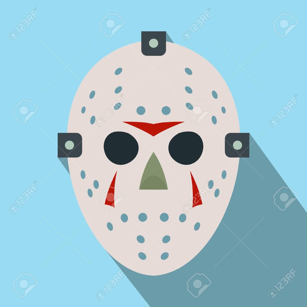 Halloween Jason Mask Cartoon.Halloween Hockey Mask Flat Icon With Long Shadow